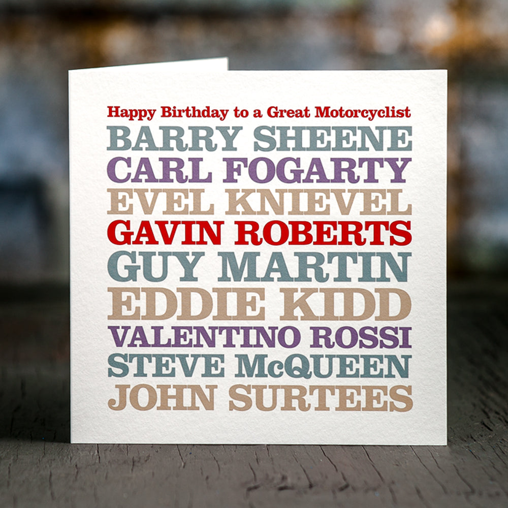 Personalised Celebrity 'Motorcyclist' Card