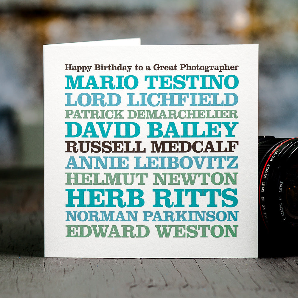 Personalised Famous 'Photographer' Card