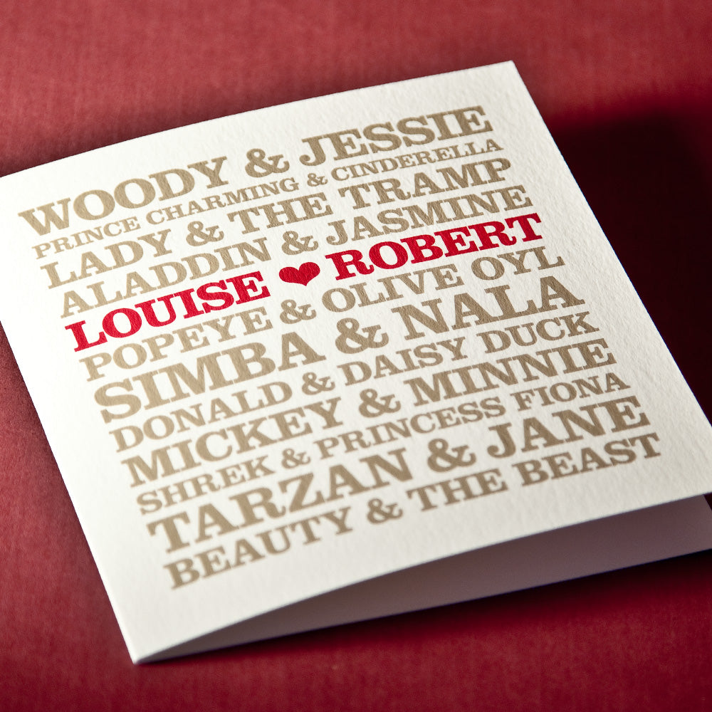 Personalised 'Famous Cartoon Couples' Card