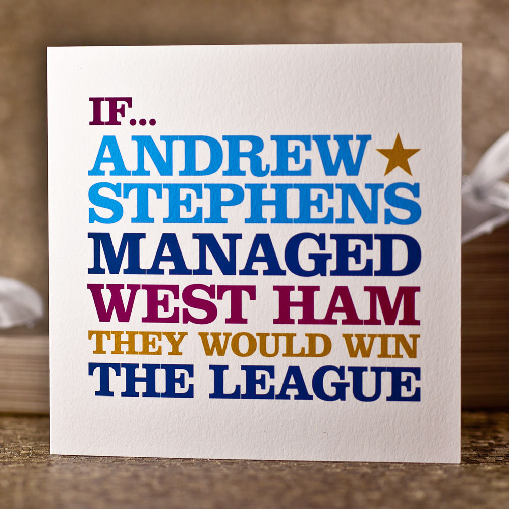 Personalised 'West Ham Manager' Card