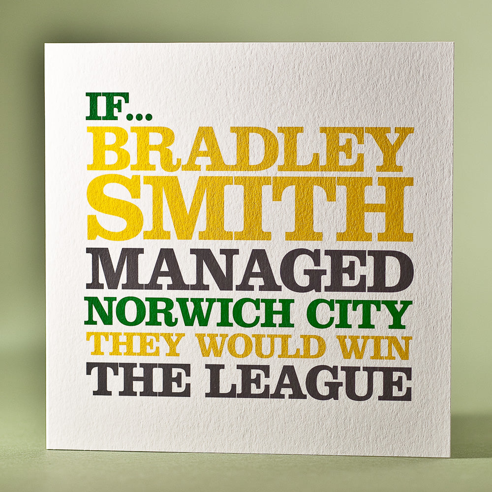 Personalised 'Norwich City Manager' Card
