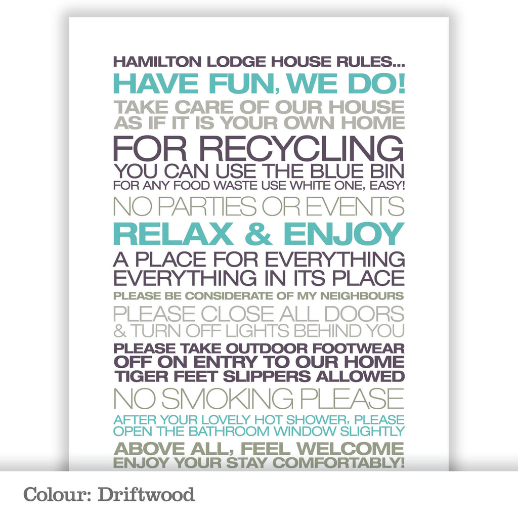 Personalised Guest House Rules Print_Driftwood