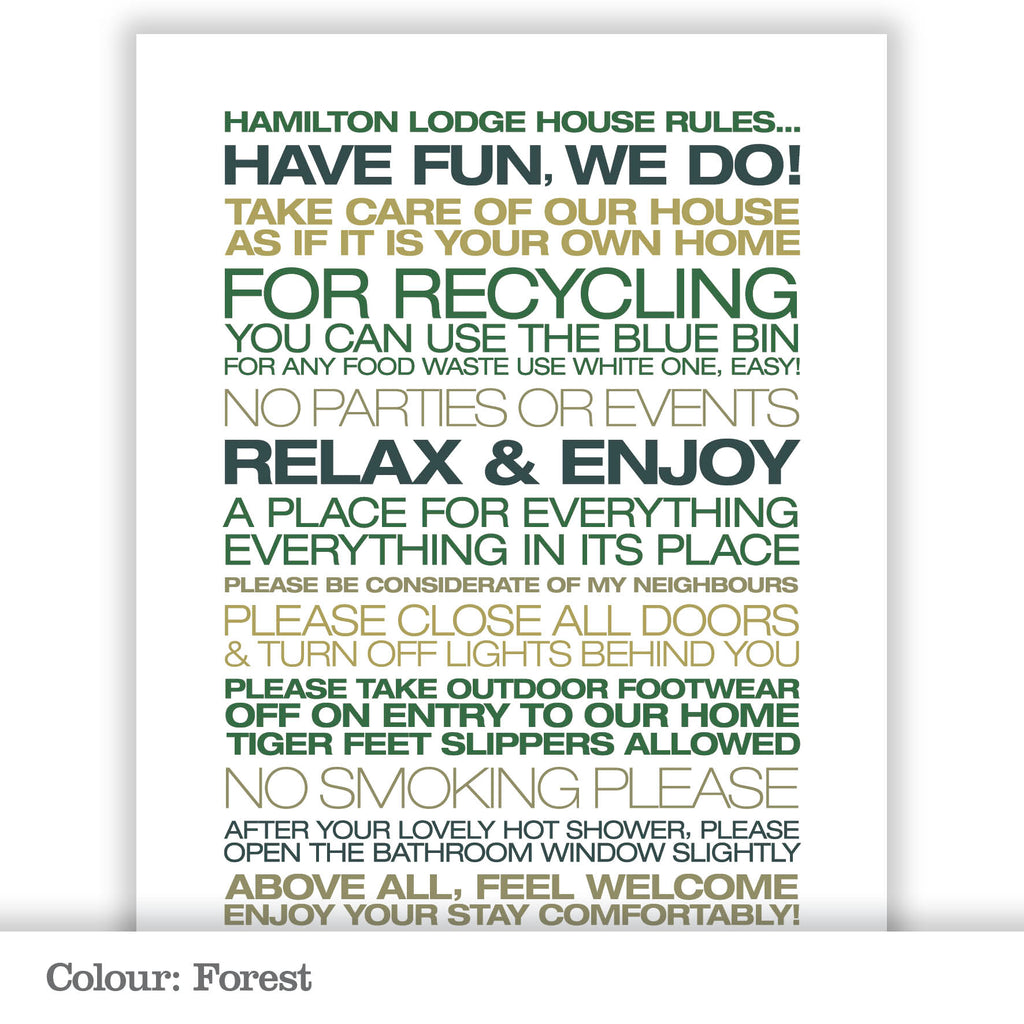 Personalised Guest House Rules Print_Forest