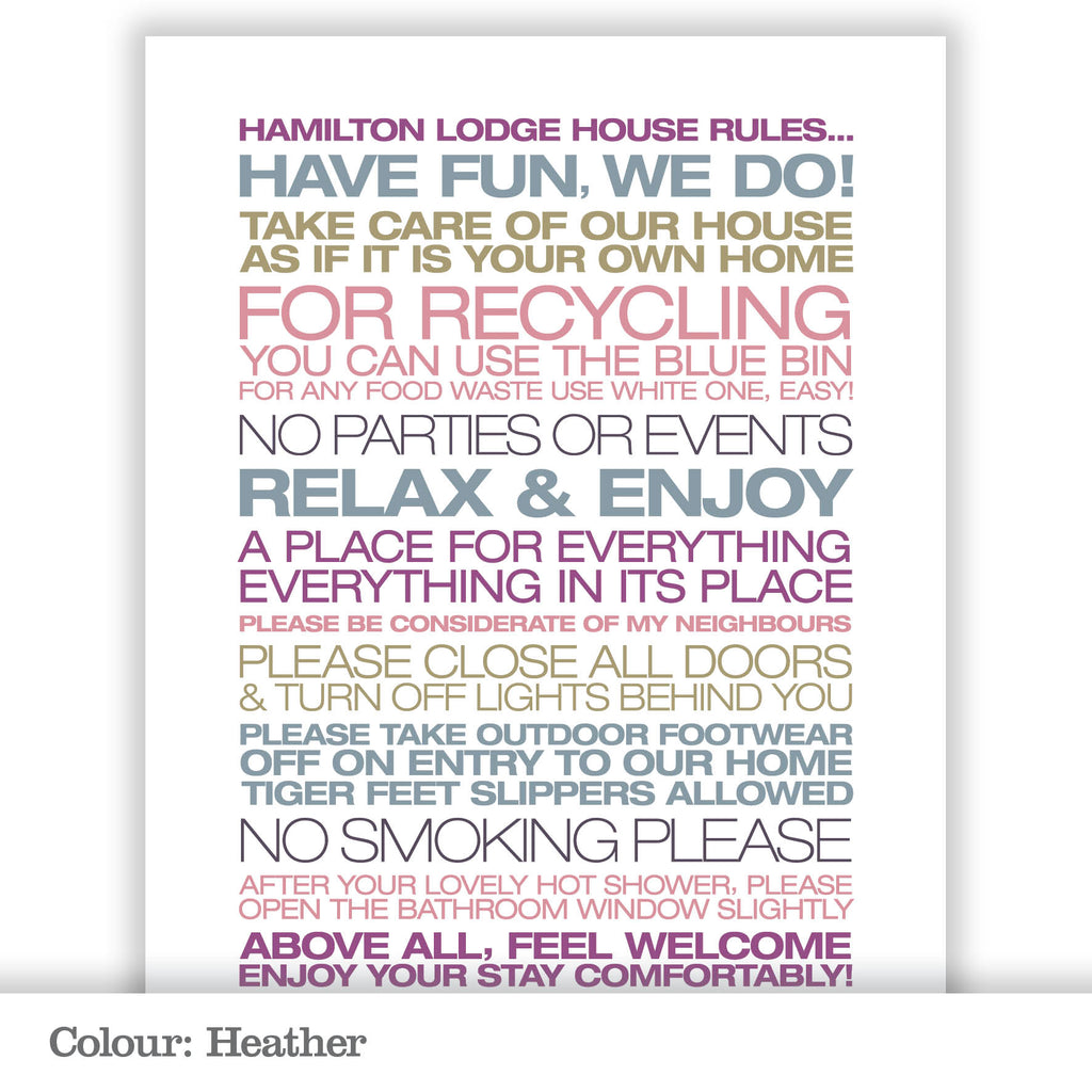 Personalised Guest House Rules Print_Heather