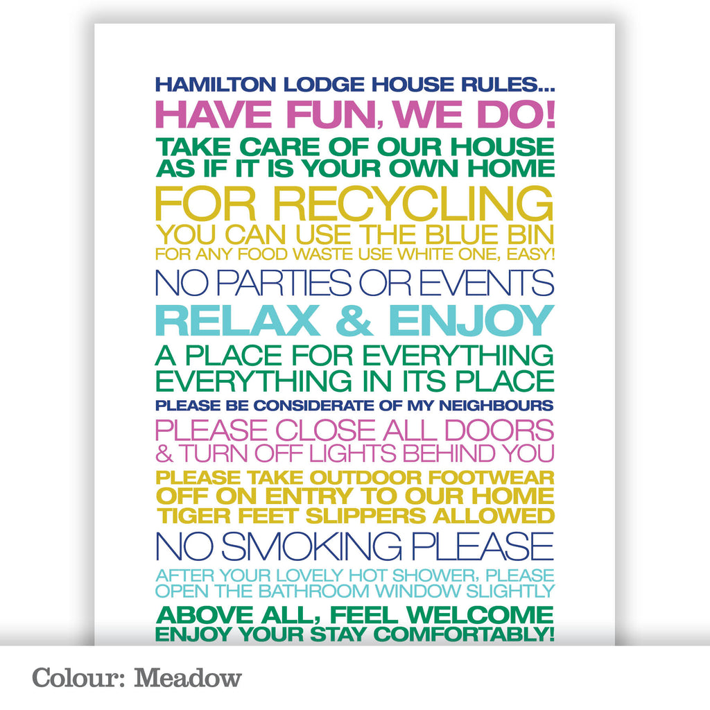 Personalised Guest House Rules Print_Meadow