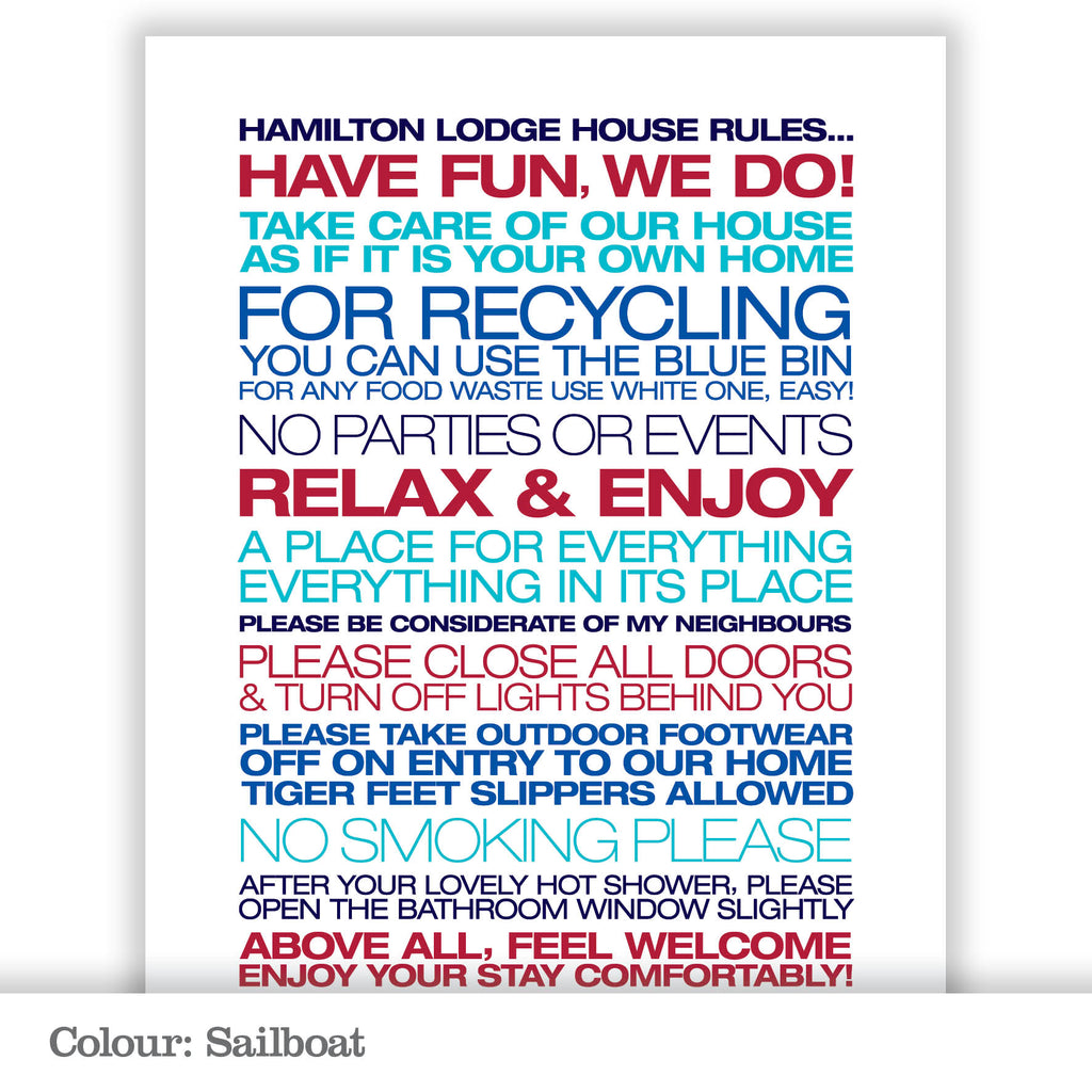 Personalised Guest House Rules Print_Sailboat