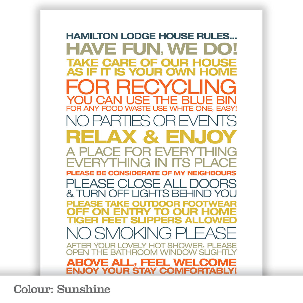 Personalised Guest House Rules Print_Sunshine