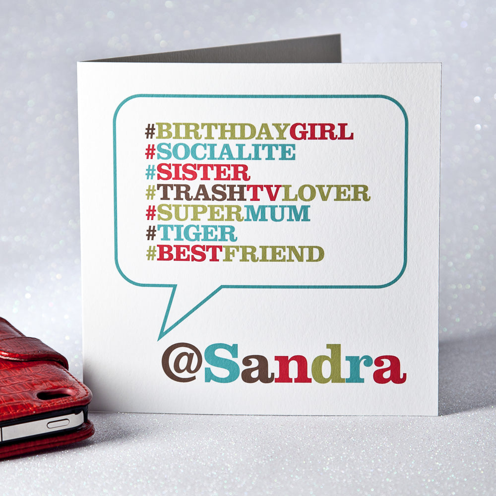 Personalised 'Hashtag' Card