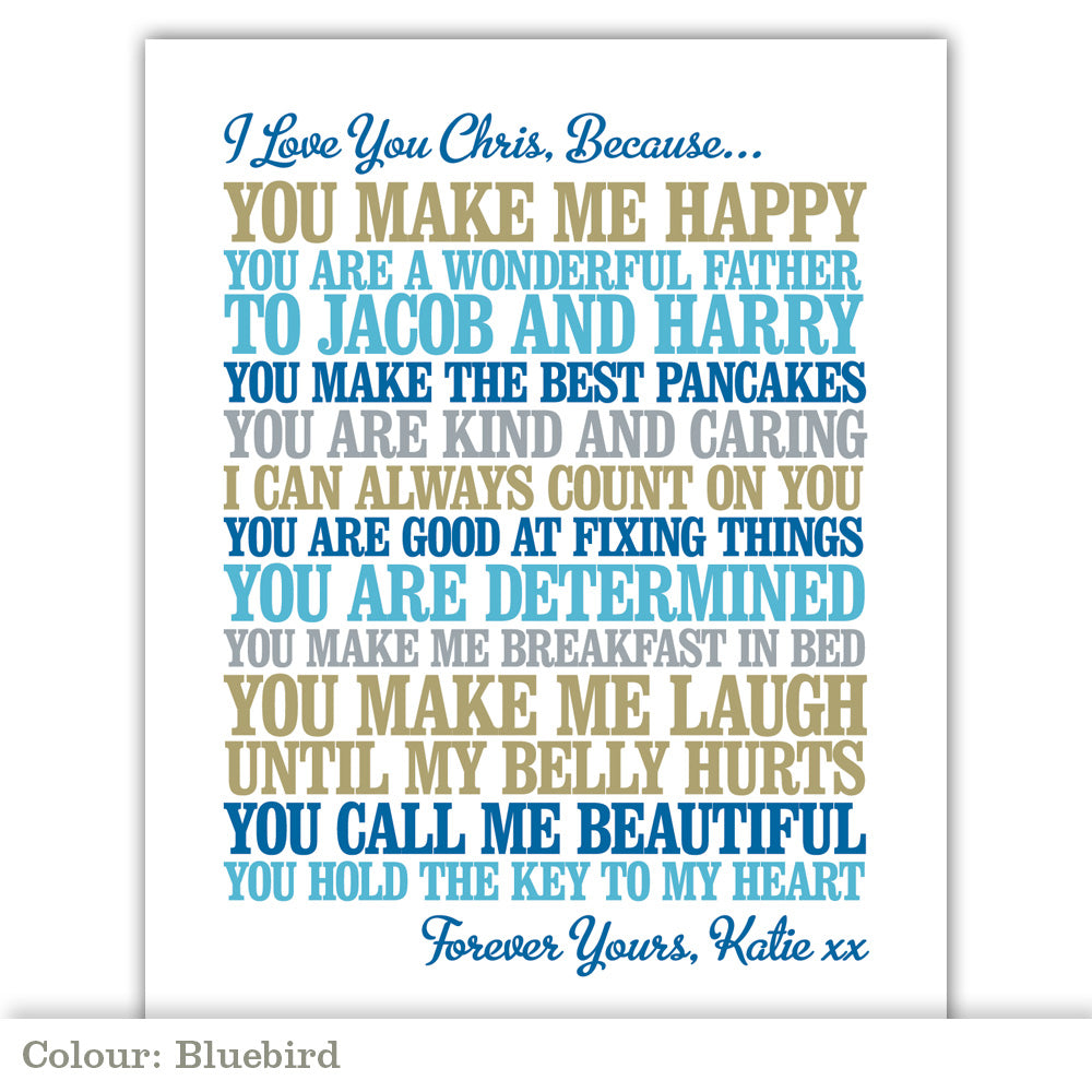 'I Love You Because' Personalised Print