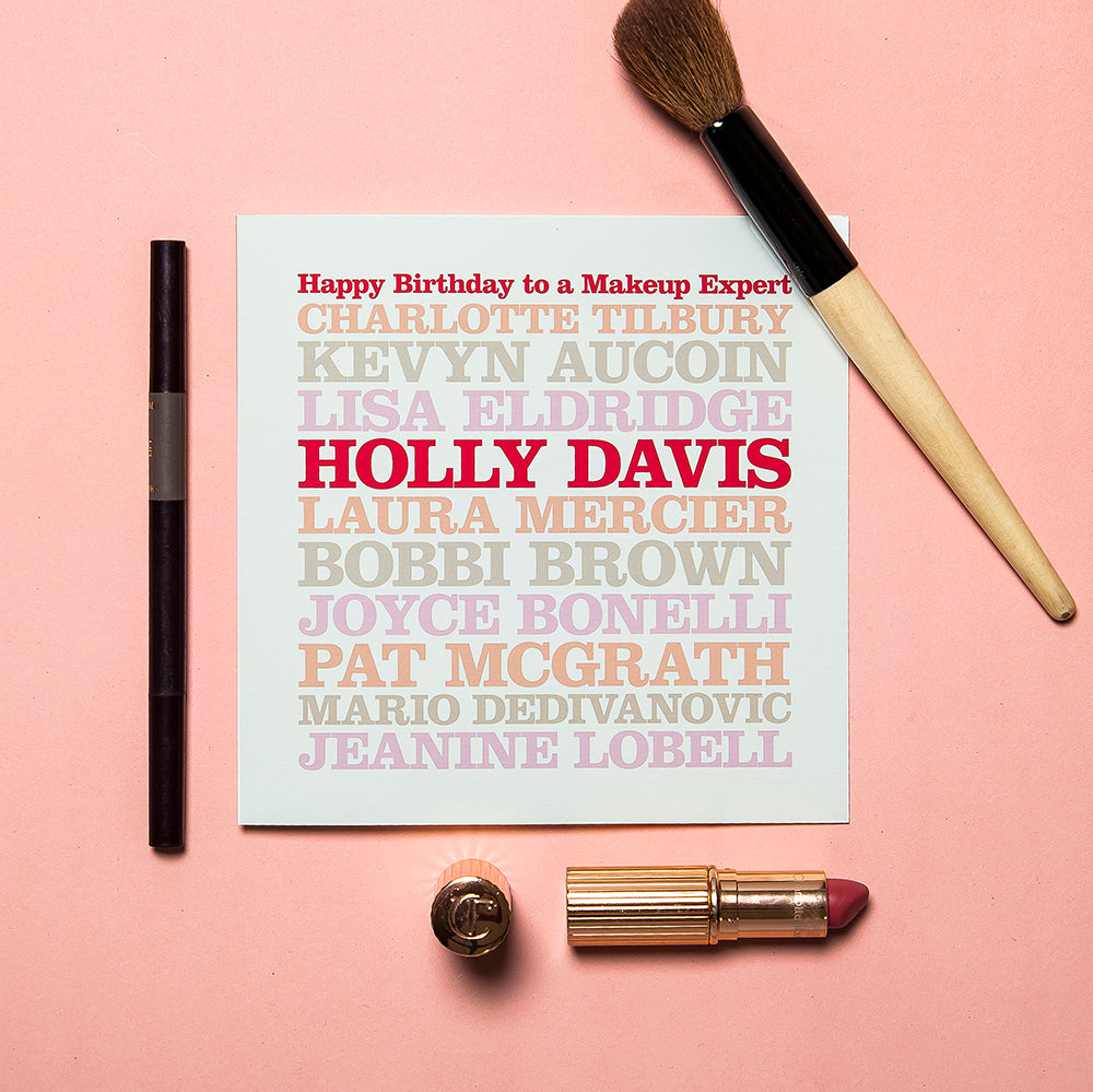 Personalised Celebrity 'Makeup Expert' Card