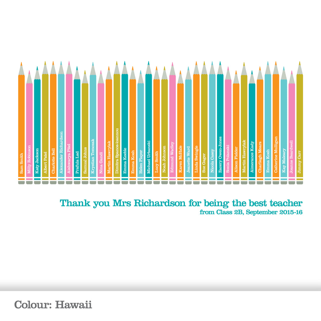 Personalised Class Pencil Print_Hawaii