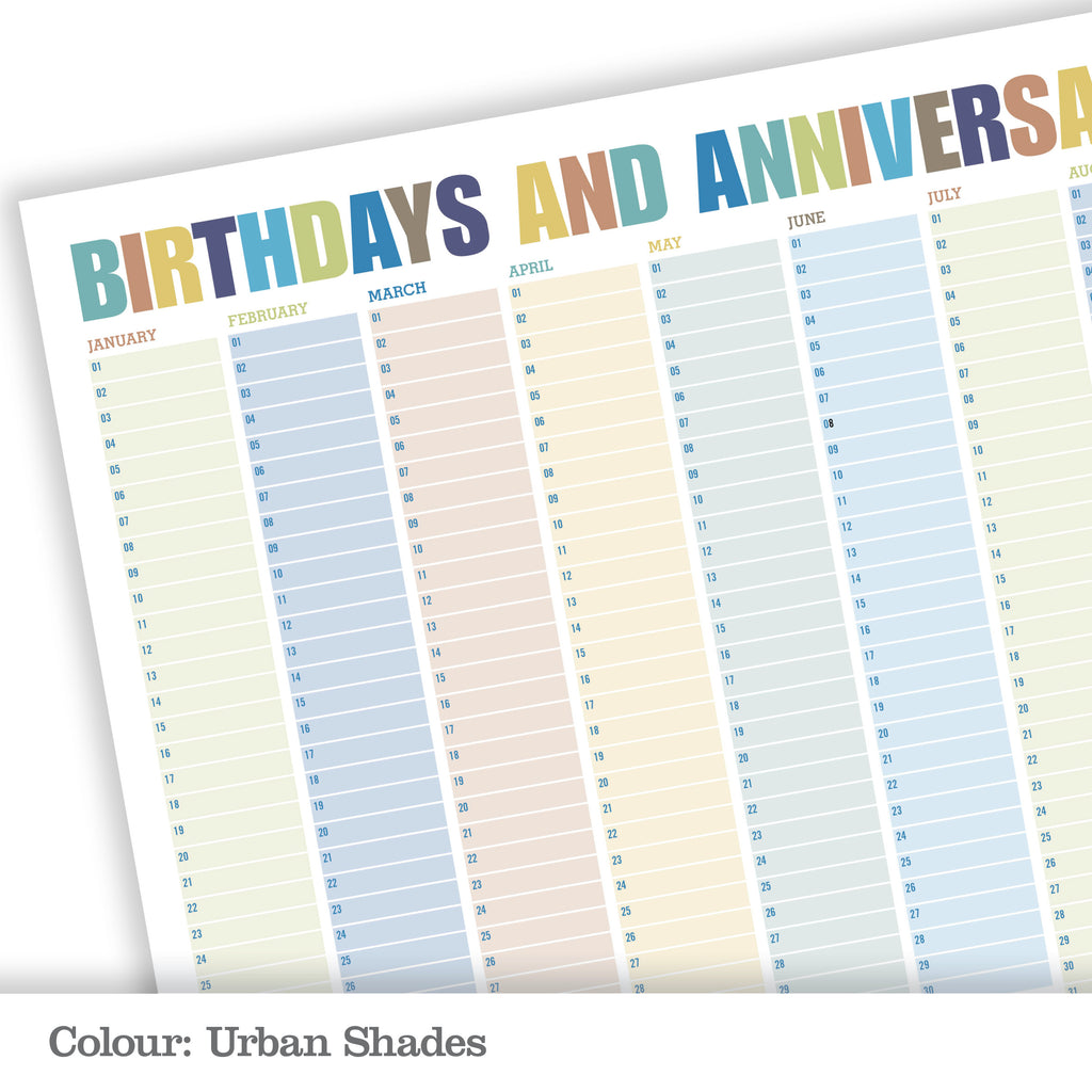 Personalised Perpetual Wall Planner_Urban Shades