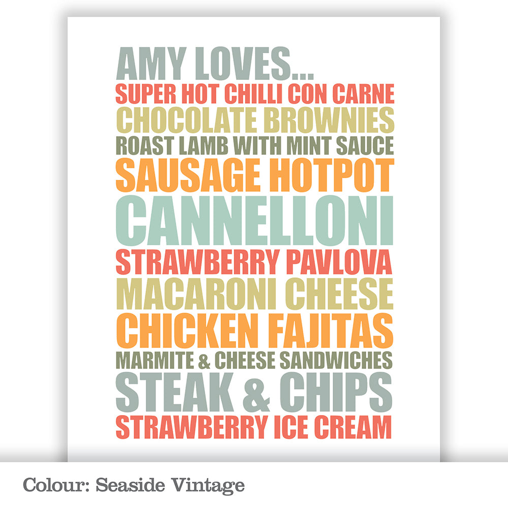 Personalised 'Food Loves' Poster Print