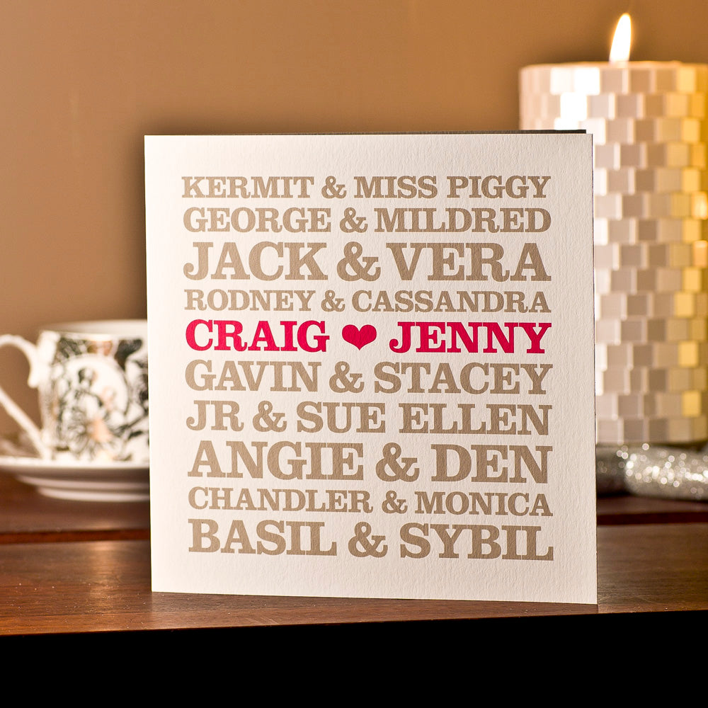 Personalised 'Famous TV Couples' Card