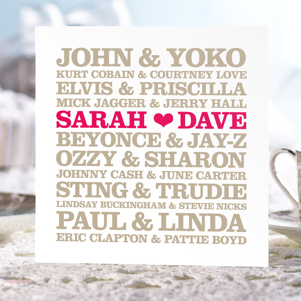 Personalised 'Famous Musical Couples' Card