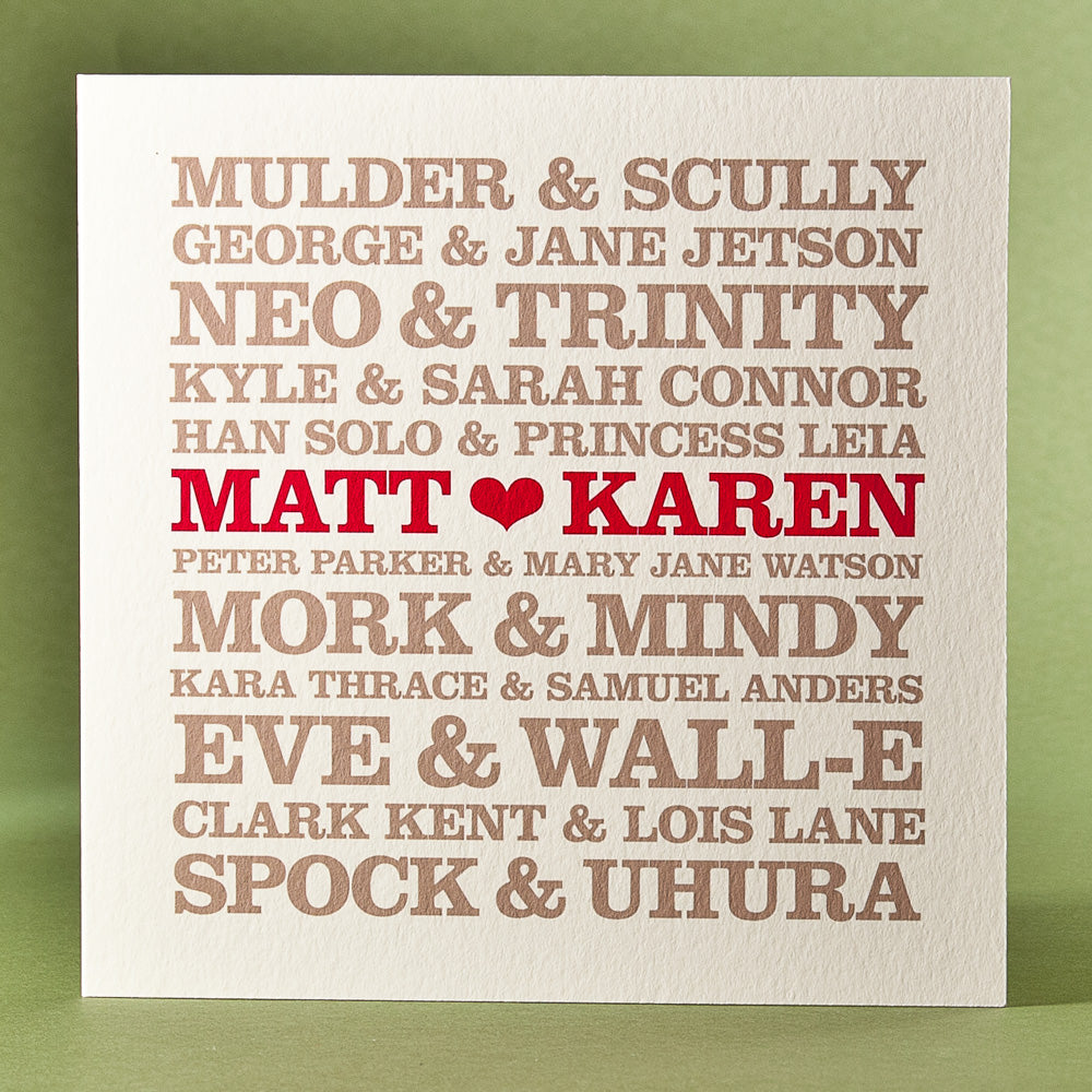 Personalised 'Famous Sci-Fi Couples' Card