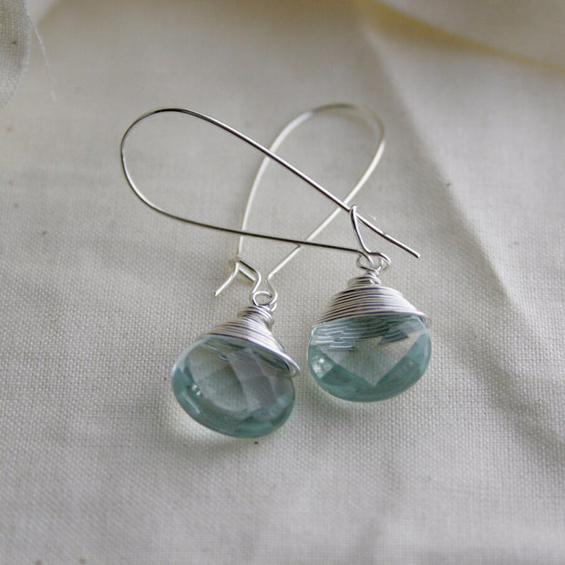 Silver Teardrop Earrings in Aqua Quartz