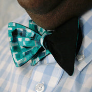 Mosaic Teal Bow Tie