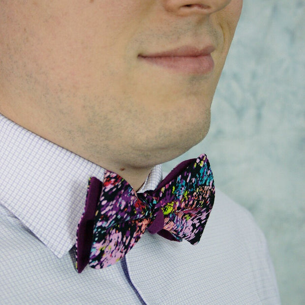 Splattered Plum Bow Tie - Made for Freedom