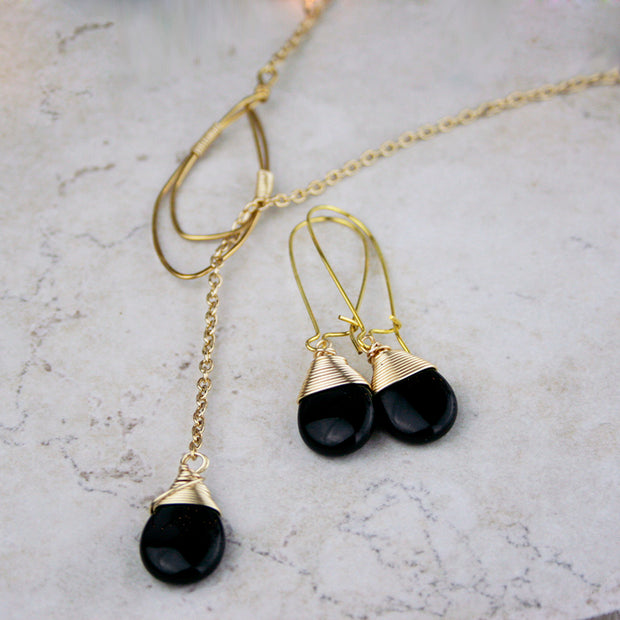 Gold and Black Onyx Lariat Set - Made for Freedom