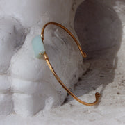 Hammered Brass Bangle - Amazonite