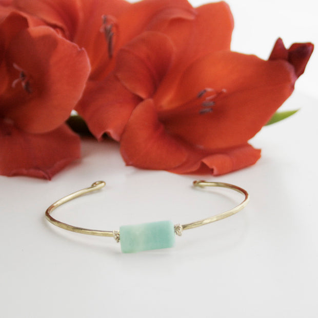 Hammered Brass Bangle - Amazonite - Made for Freedom