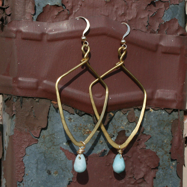 Hammered Brass Earrings - Amazonite - Made for Freedom