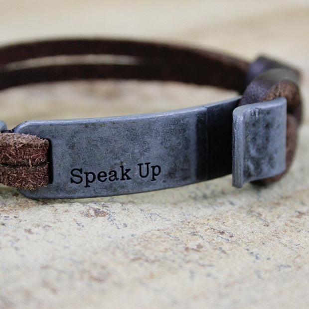 Leather Speak Up Bracelet