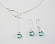 Silver and Aqua Quartz Lariat Set - Made for Freedom