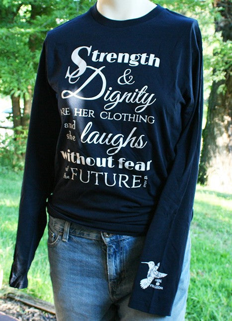 Strength & Dignity Navy Unisex Long Sleeve Tee - Made for Freedom