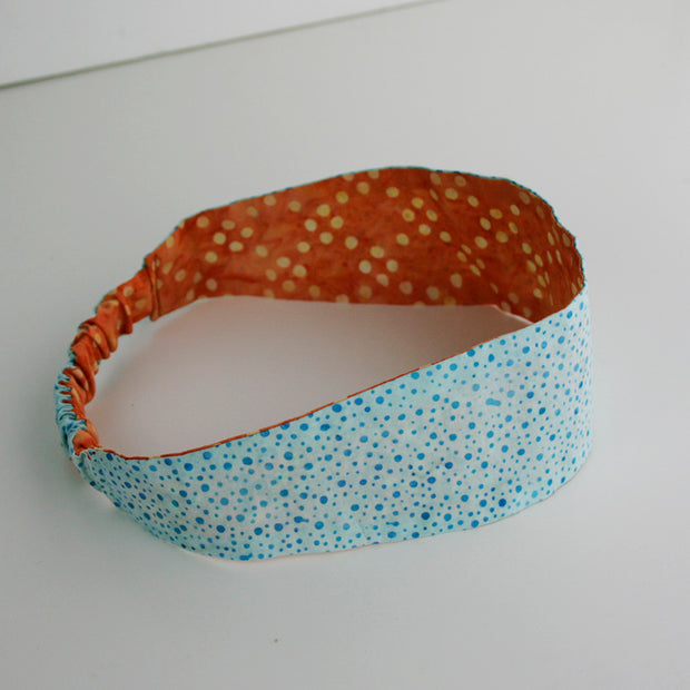 Tangerine & Aqua Dot Reversible Headband - Made for Freedom