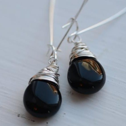 Silver Teardrop Earrings in Black Onyx