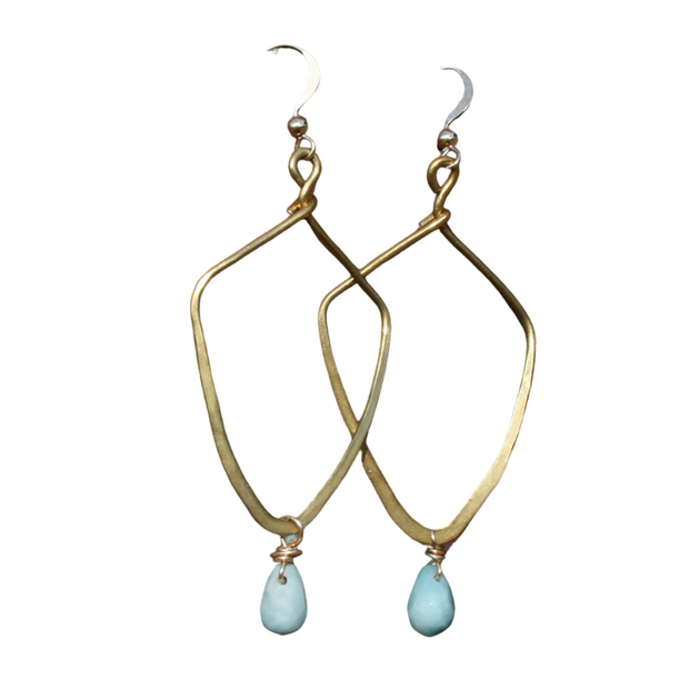 Hammered Brass Earrings - Amazonite