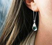 Silver Teardrop Earrings in Aqua Quartz - Made for Freedom