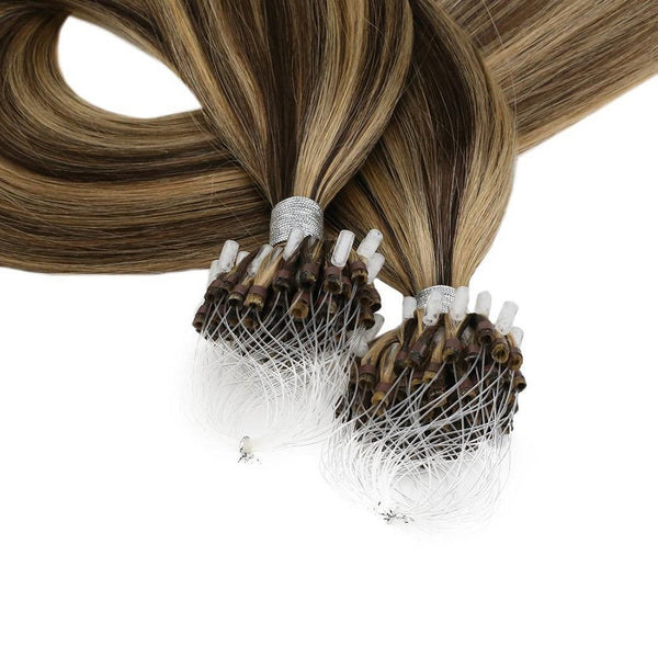 Micro Ring Loop Hair Extensions Φυσική Τρίχα Remy Balayage #P4/27