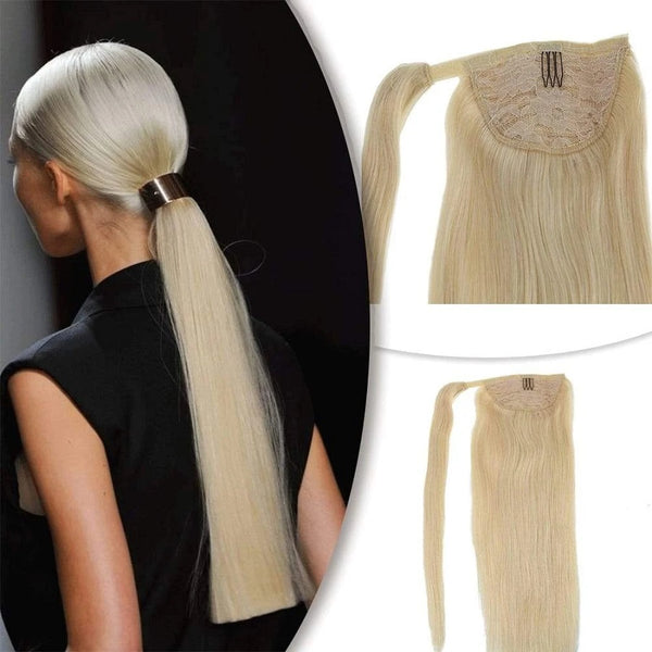 Ponytail Extensions Φυσική Τρίχα Wrap Around With Clips Πλατινέ No 60