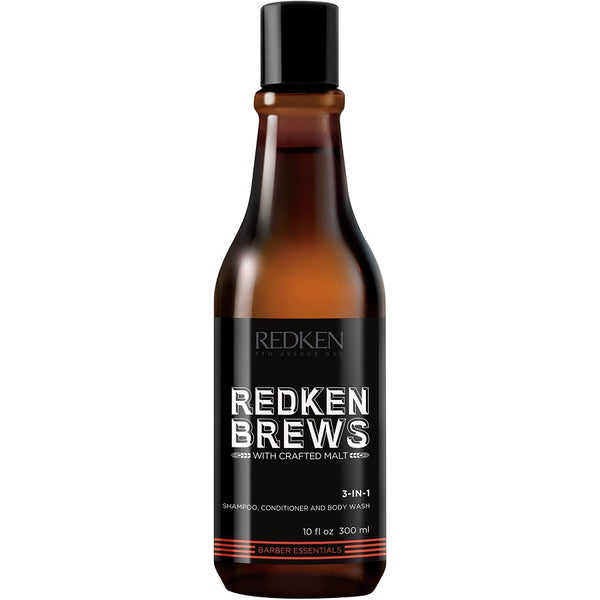 Redken Brews 3 In 1 Shampoo Conditioner & Body Wash 300ml