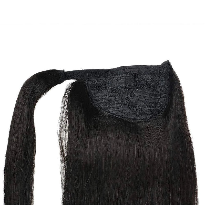 Ponytail Extensions Φυσική Τρίχα Wrap Around With Clips Off Black No 1B