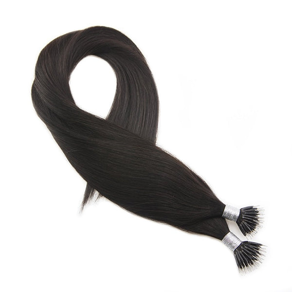 Micro Nano Ring Hair Extensions Φυσική Τρίχα Remy Μαύρα Off Black No 1B