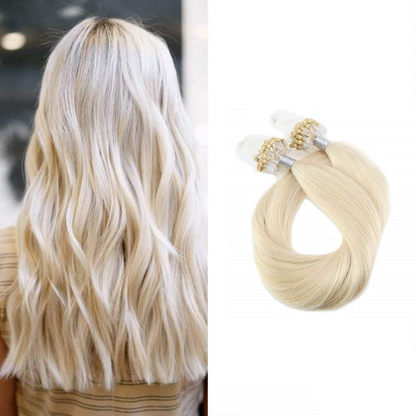 Micro Ring Loop Hair Extensions Φυσική Τρίχα Remy Πλατινέ No 60