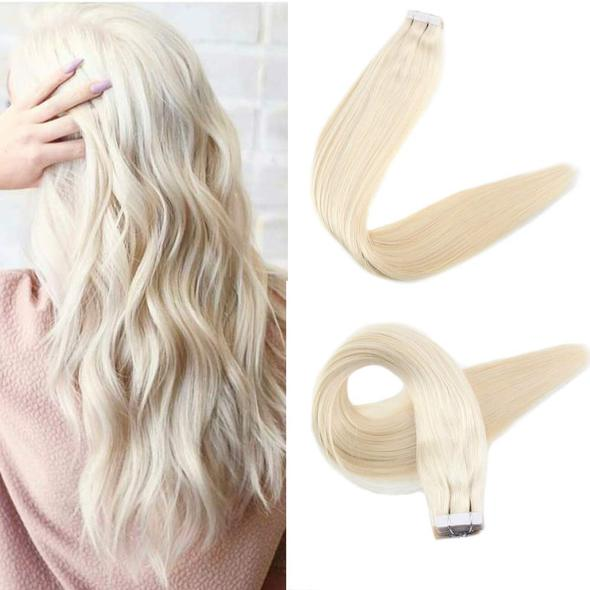 Tape Extensions Φυσική Τρίχα Remy Πλατινέ No 60