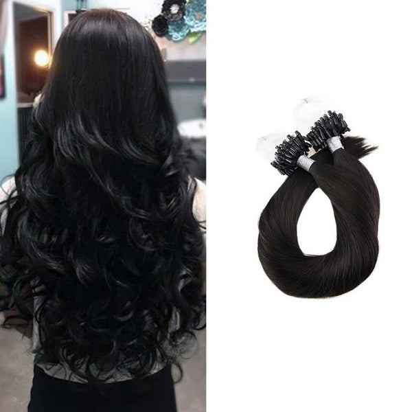 Micro Ring Loop Hair Extensions Φυσική Τρίχα Remy Μαύρα Off Black No 1B