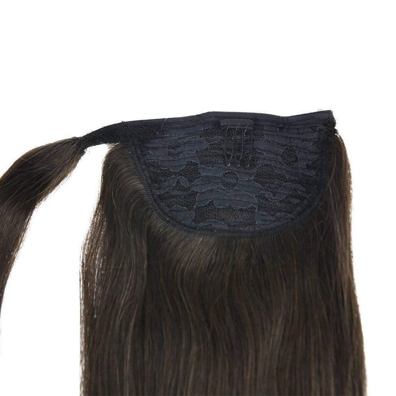 Ponytail Extensions Φυσική Τρίχα Wrap Around With Clips Καστανά No 2