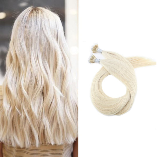 Micro Nano Ring Hair Extensions Φυσική Τρίχα Remy Πλατινέ No 60