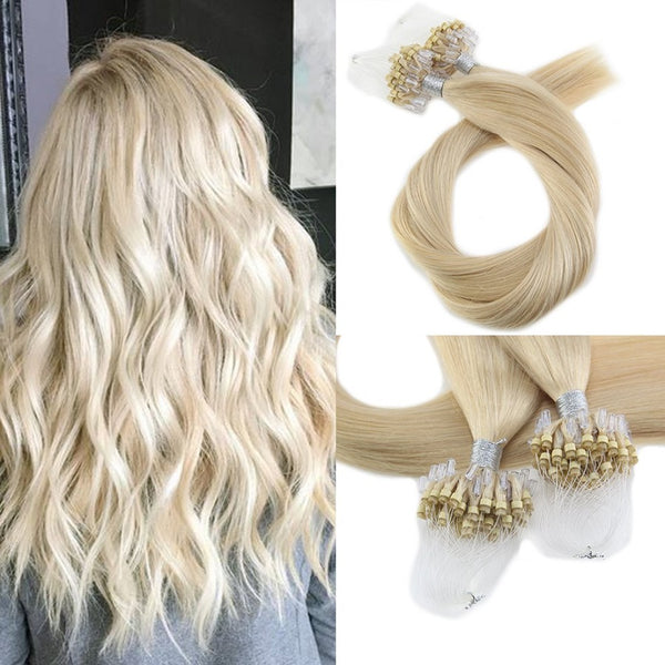 Micro Ring Loop Hair Extensions Φυσική Τρίχα Remy Ξανθά No 613