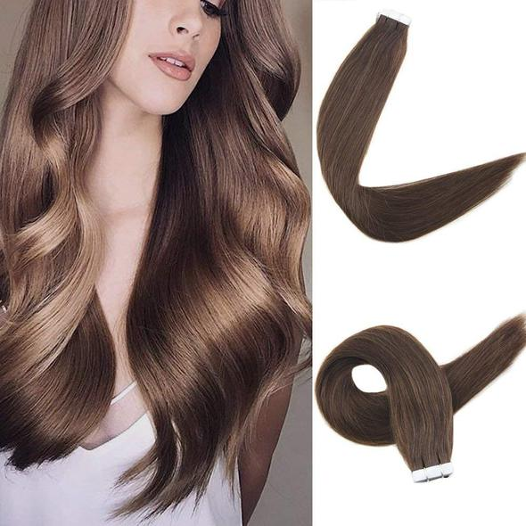 Tape Extensions Φυσική Τρίχα Remy Σοκολατί No 4