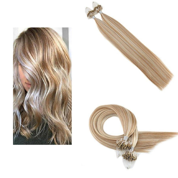 Micro Ring Loop Hair Extensions Φυσική Τρίχα Remy Balayage #P27/60
