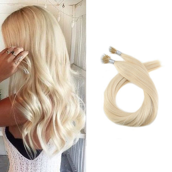 Micro Nano Ring Hair Extensions Φυσική Τρίχα Remy Ξανθά No 613