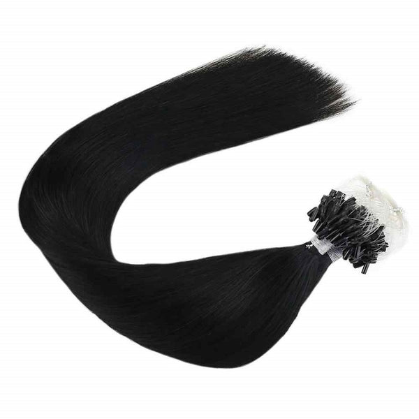 Micro Ring Loop Hair Extensions Φυσική Τρίχα Remy Μαύρα Jet Black No 1