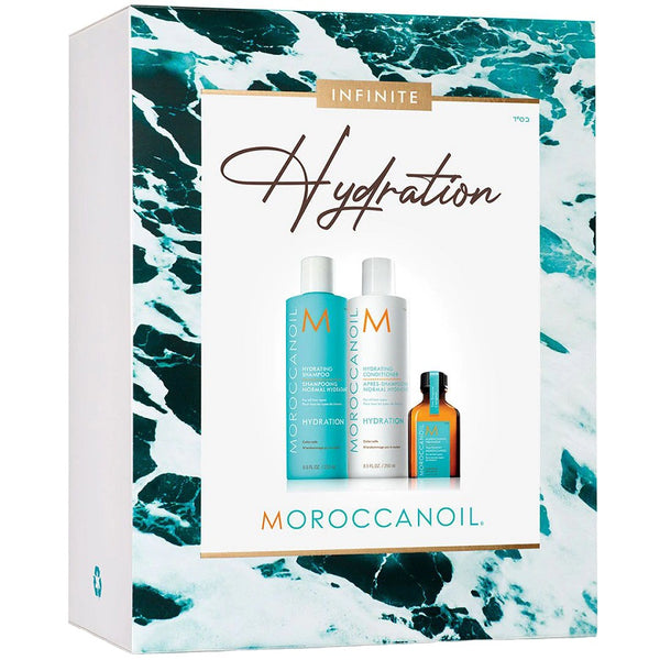 Moroccanoil Infinite Hydration Spring Set 2021 (Hydrating Shampoo 250ml, Hydrating Conditioner 250ml, Oil Treatment 25ml)